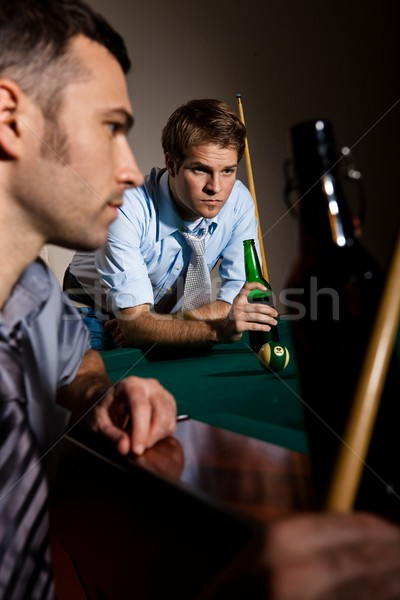 Two men concentrating on snooker Stock photo © nyul