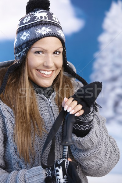 Stockfoto: Mooie · meisje · skiën · glimlachend · jong · meisje