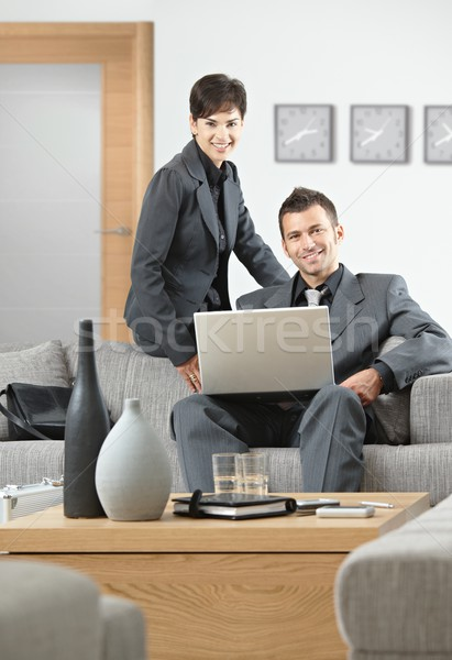 Reunião escritório jovem pessoas de negócios sessão Foto stock © nyul