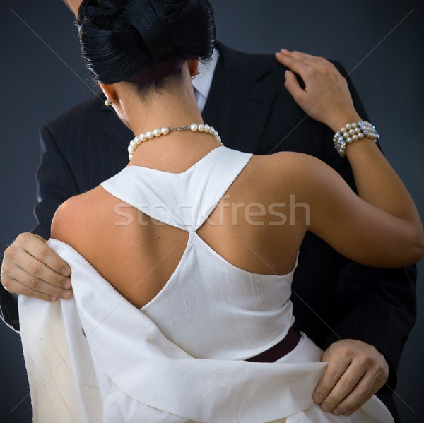 Stock photo: Back of woman in white dress