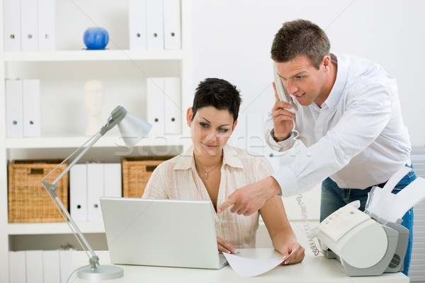 Couple working at home office Stock photo © nyul