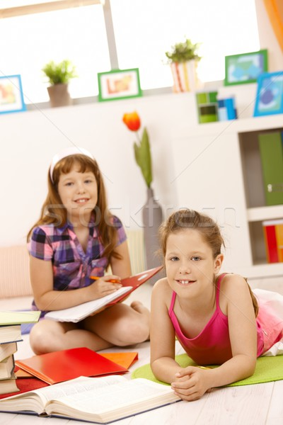 Portré lányok házi feladat együtt mosolyog kamera Stock fotó © nyul