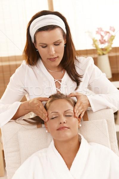Stock photo: Happy woman getting head massage