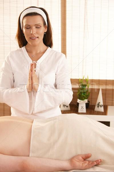 массажист пациент женщину цветок глазах Сток-фото © nyul