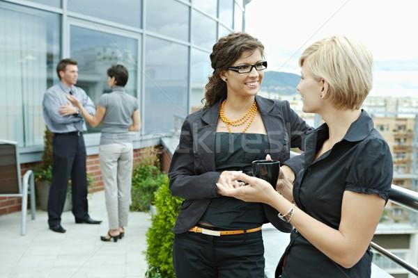Сток-фото: предпринимателей · говорить · Открытый · перерыва · служба · терраса