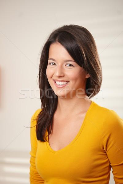 Retrato menina adolescente sorridente feliz olhando Foto stock © nyul