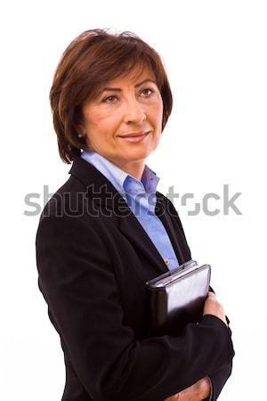 Gelukkig senior zakenvrouw geïsoleerd witte vrouw Stockfoto © nyul