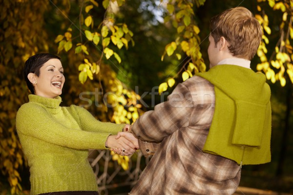 Happy couple having fun in forest Stock photo © nyul