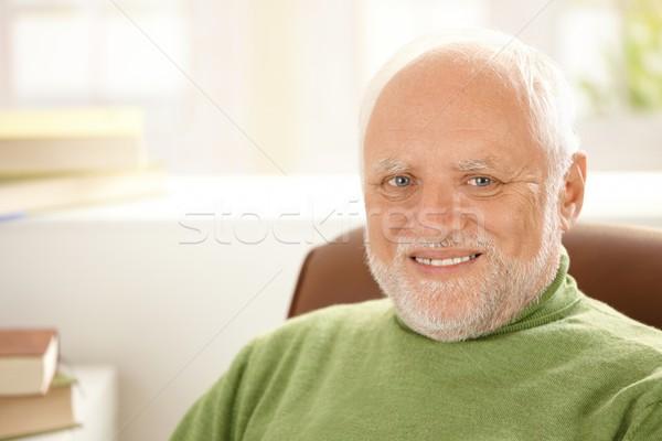 Portre gülen kıdemli adam beyaz saçlı bakıyor Stok fotoğraf © nyul