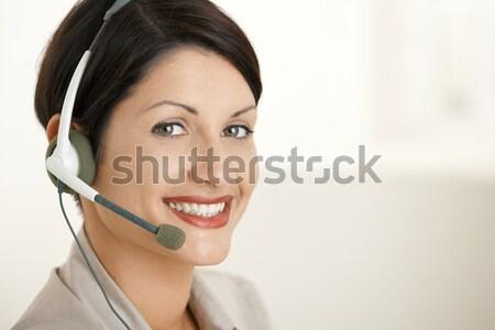 Сток-фото: счастливым · обслуживание · клиентов · оператор · портрет · говорить