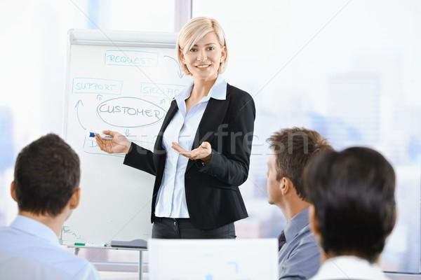 Femme d'affaires gens d'affaires séance présentation bureau Photo stock © nyul