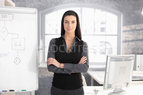 Pretty businesswoman at whiteboard Stock photo © nyul