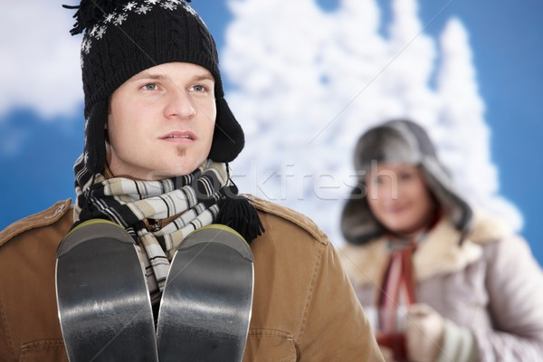 幸せ カップル 冬 雪 着用 ストックフォト © nyul
