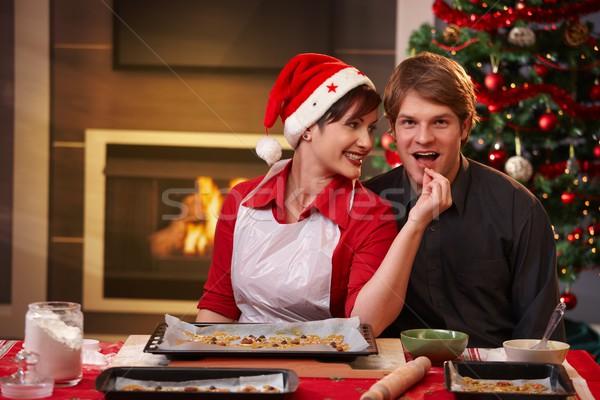 Stok fotoğraf: Mutlu · çift · Noel · kek · gülümseyen · kadın · adam