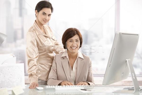 Stockfoto: Portret · senior · uitvoerende · vrouw · assistent · kantoor