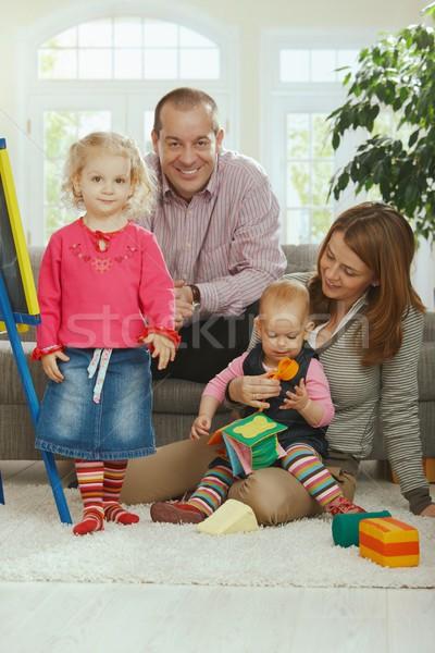 Mosolyog családi portré portré boldog család apa Stock fotó © nyul