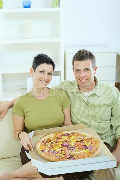 Stok fotoğraf: Mutlu · çift · yeme · pizza · oturma