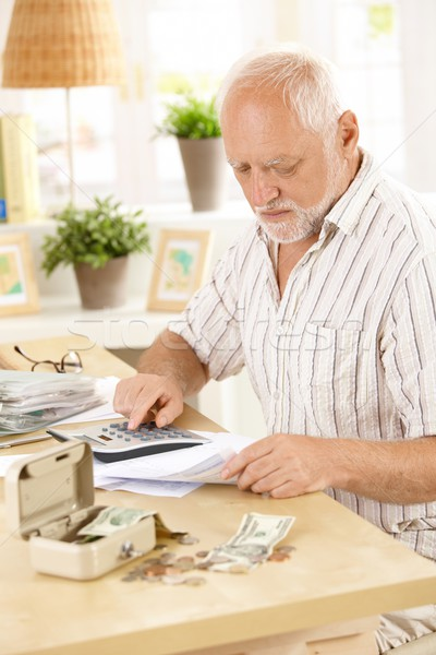 Stock photo: Active pensioner doing financial work at home