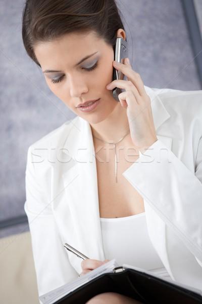Femme d'affaires prendre des notes téléphone personnelles organisateur Photo stock © nyul