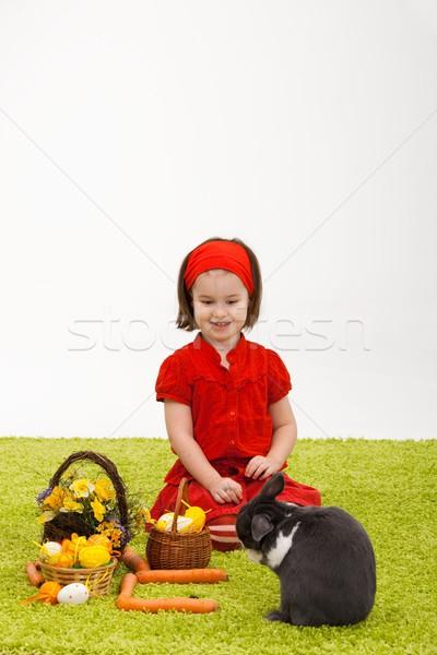 Meisje Easter Bunny Pasen afbeelding glimlachend groene Stockfoto © nyul