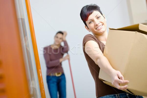 Young woman with cardboard box Stock photo © nyul