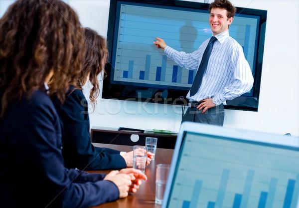 Foto stock: Negocios · presentación · formación · oficina · feliz · empresario