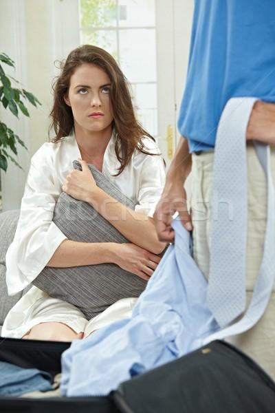 Infeliz mulher casal triste sofá Foto stock © nyul