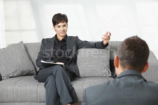 Entrevista de emprego reunião de negócios escritório empresária sessão sofá Foto stock © nyul