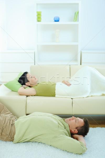 Para snem domu sofa piętrze miłości Zdjęcia stock © nyul