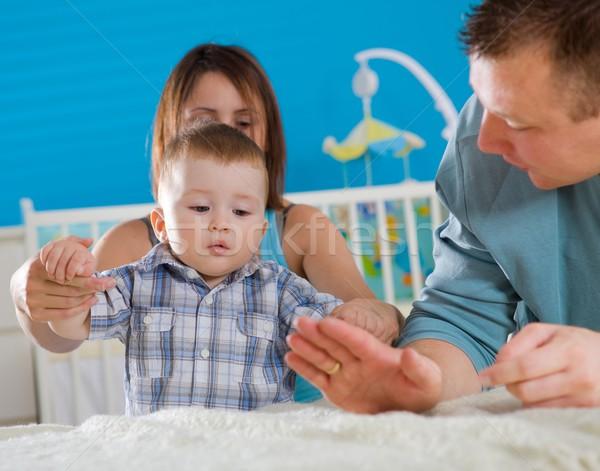 Casa de la familia retrato familia feliz casa bebé nino Foto stock © nyul