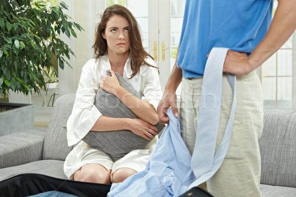 несчастный женщину пару печально диване Сток-фото © nyul