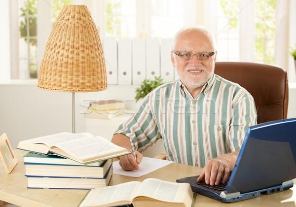Foto stock: Retrato · senior · professor · sessão · secretária · pesquisa