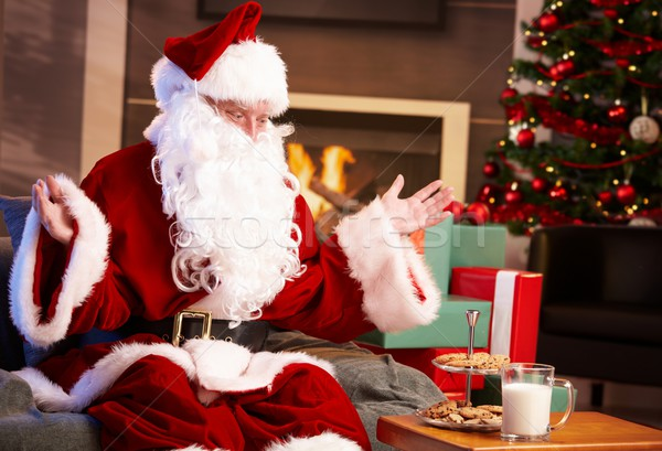 Happy Santa with milk and chocolate chip cookies Stock photo © nyul