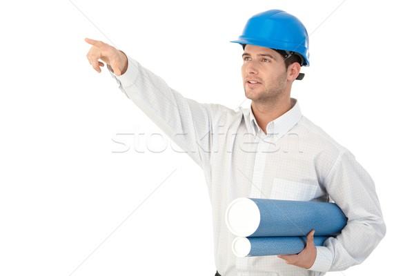 Fiatal építész mutat helyszín vizsgálat visel Stock fotó © nyul