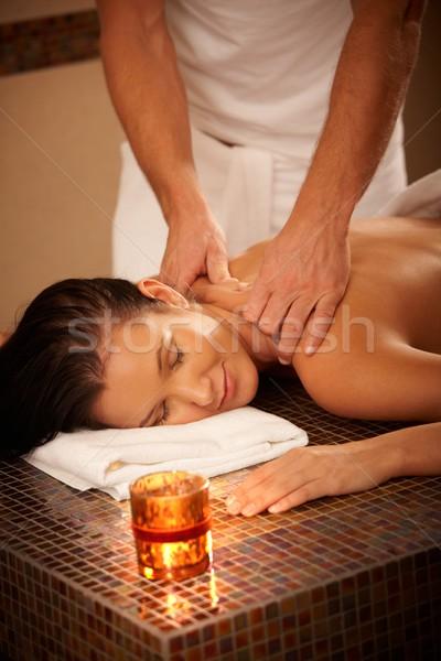 Woman enjoying massage Stock photo © nyul