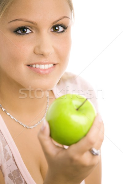 Nina manzana primer plano retrato hermosa niña Foto stock © nyul