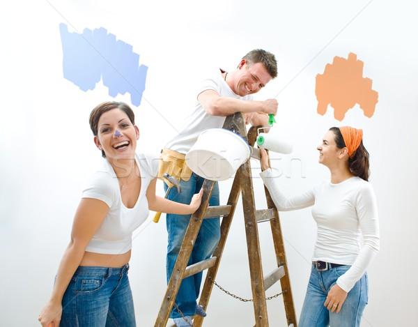 Stock fotó: Lakásfelújítás · fiatal · pér · barát · nők · otthon · szerszámok