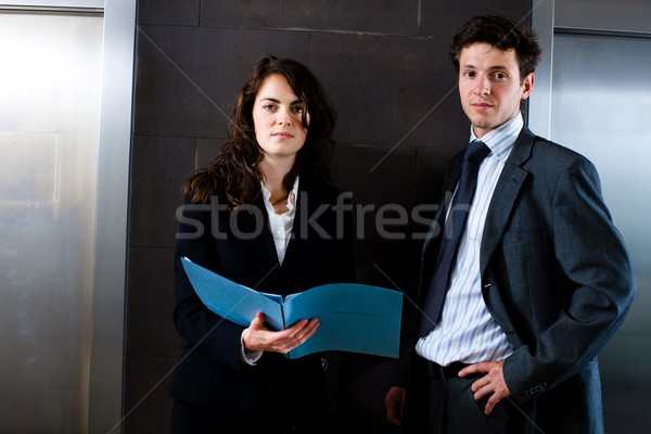 Businesspeople reading document Stock photo © nyul