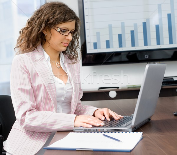 Businesswoman typing on laptop Stock photo © nyul