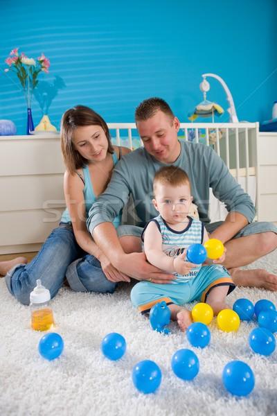 счастливая семья домой портрет ребенка мальчика 1 год Сток-фото © nyul