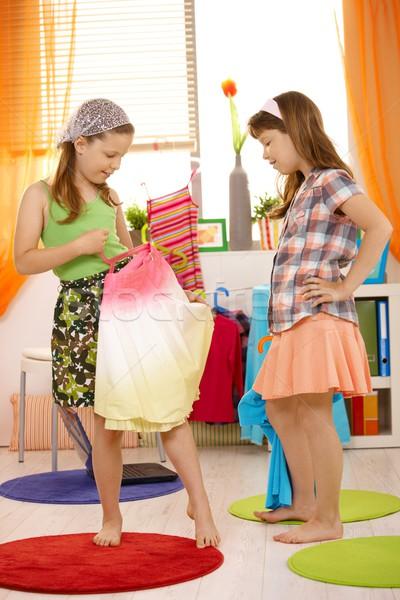 Girls having fun dressing up Stock photo © nyul