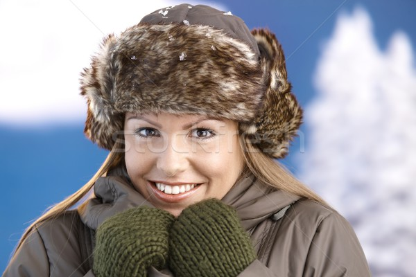 Pretty girl dressed up warm smiling freezing Stock photo © nyul