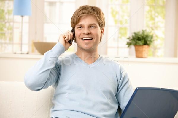 Man using cellphone Stock photo © nyul