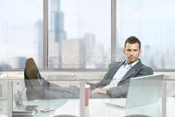 Foto stock: Empresario · sesión · escritorio · oficina · Windows