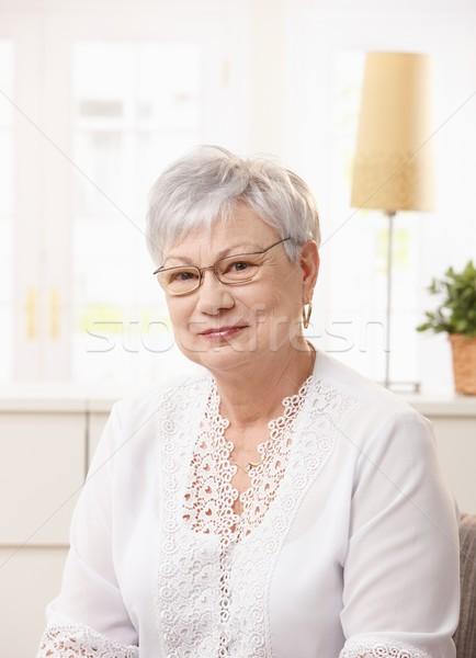 портрет пенсионер женщину сидят гостиной Сток-фото © nyul