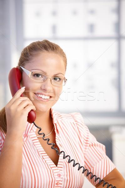 Dość recepcjonista pracy mówić telefonu biuro Zdjęcia stock © nyul