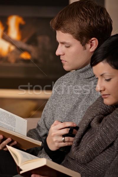 Stockfoto: Paar · lezing · home · vergadering · haard