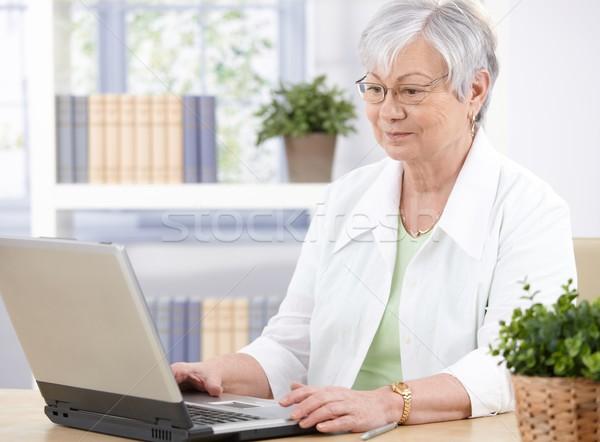Old lady using laptop Stock photo © nyul