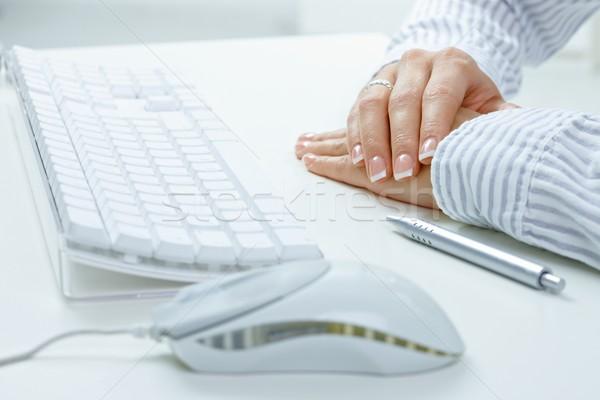 Female hands on desk Stock photo © nyul
