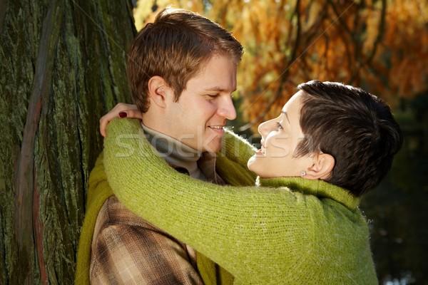 Couple hugging in park Stock photo © nyul